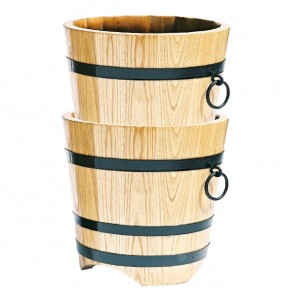 Lot de 2 bacs ronds bois naturel